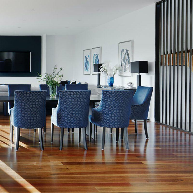 Builder Sunshine Coast - blue and timber dining room